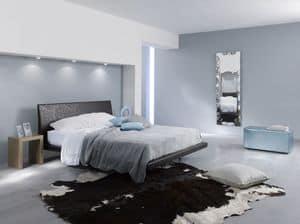 Zoe, Ledersofa, mit klaren Linien, ideal für moderne Schlafzimmer