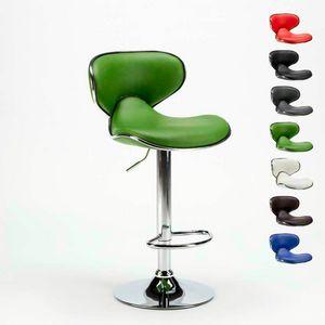 AMARILLO Modernes Design Dreh Chrom und Hocker für Küche und Bar - SGA800AMA, Hocker mit verchromtem Gestell und Kunstledersitz