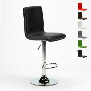 Hoher Barhocker und verstellbare Küche mit Rückenlehne COLUMBUS Design - SGA800COL, Hocker in Leder, in der Höhe verstellbar