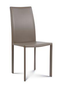 Giada medium, Moderner Stuhl mit Lederbezug