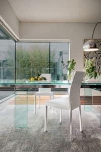 PLAZA, Moderne Ledersessel für Esszimmer, Stuhl aus Metall für Küche