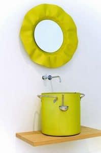 Chef - Spiegel, Spiegel mit welligen mit Lichtern Rahmen
