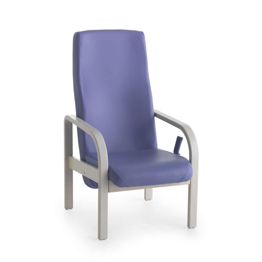 Marta 07 FIX, Stuhl für ältere Menschen, abgerundete Armlehnen, für Hospize
