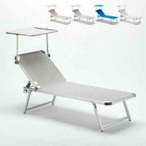 Beach Aluminium Sonnenliege mit verstellbarem Schiebedach NETTUNO - NE800TEX, Strandbett mit verstellbarem Dach