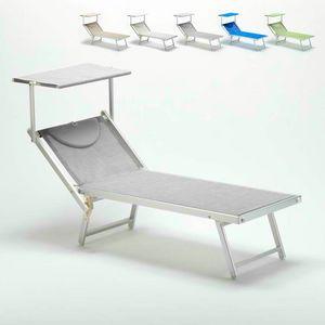 Professionelle Sonnenliege Italia – IT100TEX, Strandliege mit Baldachin für Strände, Pools und Hotels