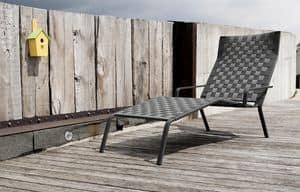 Rest Chaise Lounge, Stapelbares Sonnenliege aus Aluminium und Polyester