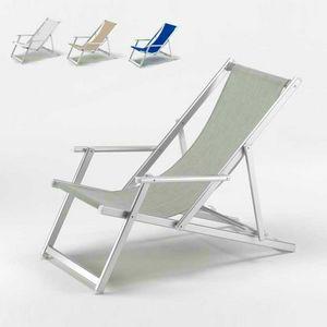 Schwimmbad Liegestuhl Riccione – RI800LUX, Liegestuhl mit Armlehnen und verstellbare Rückenlehne, reißfest