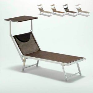 Sonnenliege Sonnenliege Aluminium Strand Santorini Limited Edition - SA800TEXL, Meeresbett aus Aluminium und Stoff