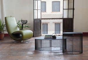 ANDRA, Round Couchtische für Wohnzimmer, aus Metall