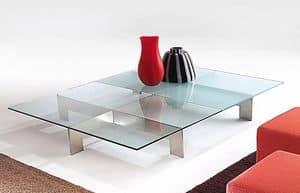 Bridge 2, Tisch für Mittelhalle, in Stahl und Glas
