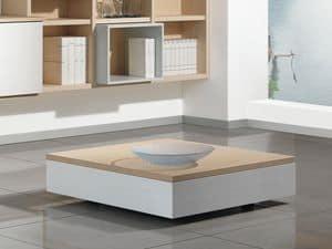 Ergänzungen Kleinen Holztisch 01, Niedriger Couchtisch aus Holz mit Speichereinheit