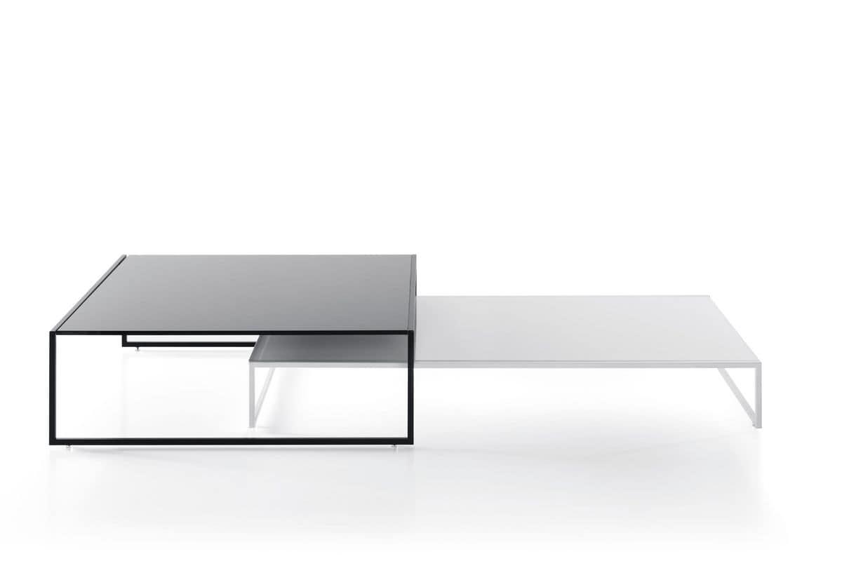 Couchtisch mit Glasplatte, minimale Struktur aus Metall