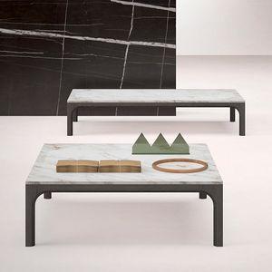 Prism kleiner Tisch, Couchtisch mit Marmorplatte