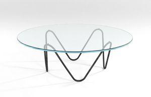 Suono, Moderner Couchtisch mit Metallrahmen und Glasplatte