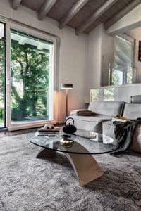 TUDOR, Couchtisch aus Marmor und Glas, für Wartezimmer und Büro