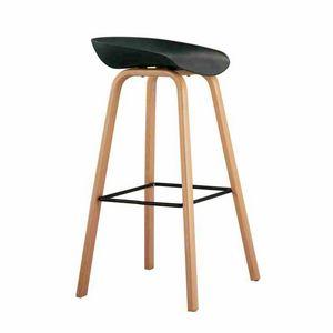 Hoher Hocker für Bar und Küche mit Holz Effekt TOWERWOOD - SGA696LE, Hocker mit Holzbeinen mit Fußstütze