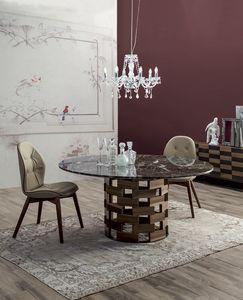 COLOSSEO, Feststehender oder ausziehbarer Tisch mit Untergestell aus rundem oder elliptischem Massivholz