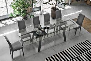 GIOVE 180 TA193, Ausziehbaren Tisch, Platte und Verlängerungen aus Glas, für Esszimmer