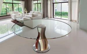 NARCISO 1.2, Runder Tisch, Glasplatte, FesthandgefertigteHolz-Struktur