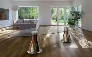 NARCISO E3.0 OVAL, Ovalen Tisch, 2 Holz- Basen, Glasplatte
