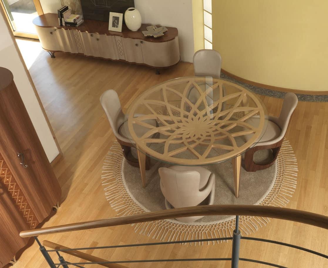 Runder Tisch aus Holz und Glas, für die moderne Lounges | IDFdesign