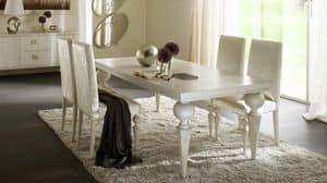 Donatello Tisch, Tisch mit gedrechselten Beinen, oben in Sperrholz