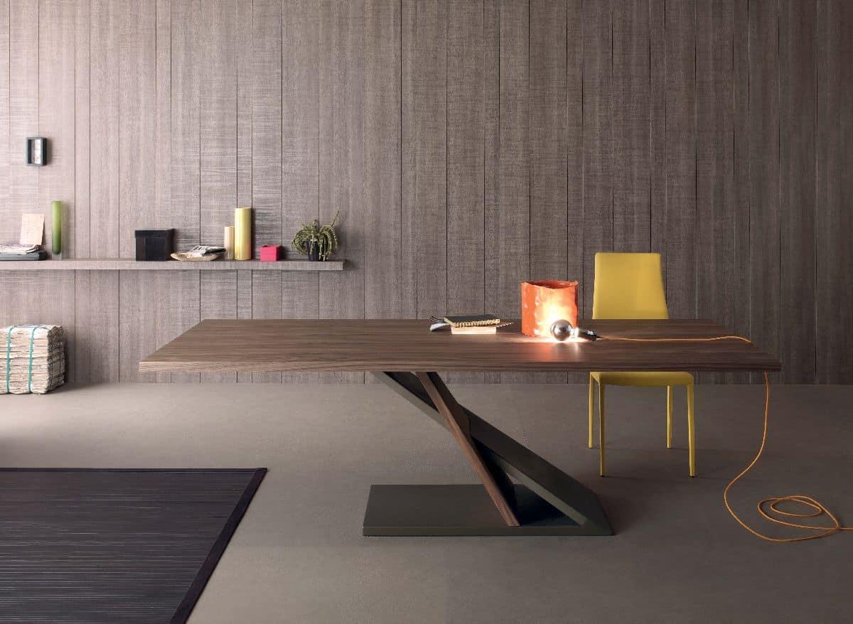 Zed 595, Design Tisch aus furnierter Metall, für Küche
