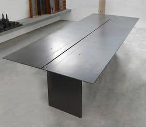 ART. 262/F STEEL, Elegant Tabelle in Metall beschichtet Wachs