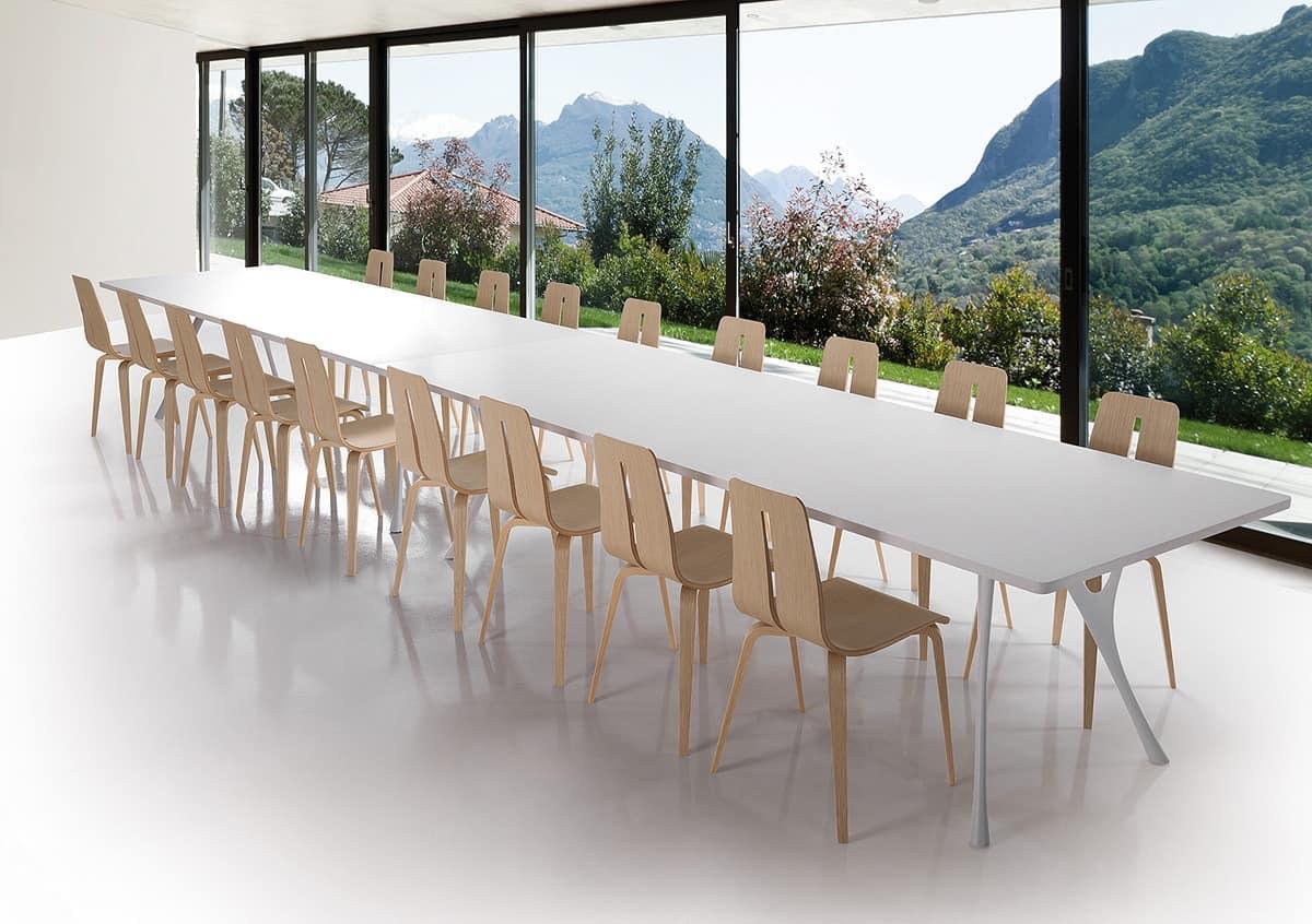 langen tisch aus poliertem aluminium und harz top idfdesign. Black Bedroom Furniture Sets. Home Design Ideas