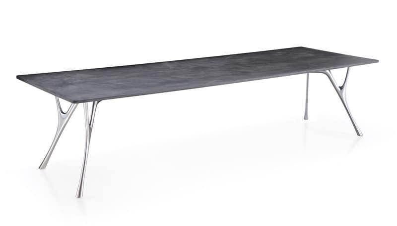 Große rechteckiger Tisch mit Oberflächen in Zement | IDFdesign