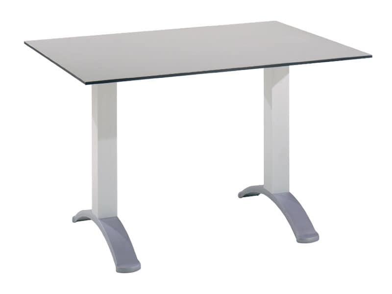 Table 120x80 cod. 07, Rechteckigen Tisch mit zwei Aluminiumsäulen Basis