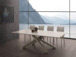 Art. 657 Infinity, Ausziehbarer Tisch mit Glasplatte, Stahlbasis