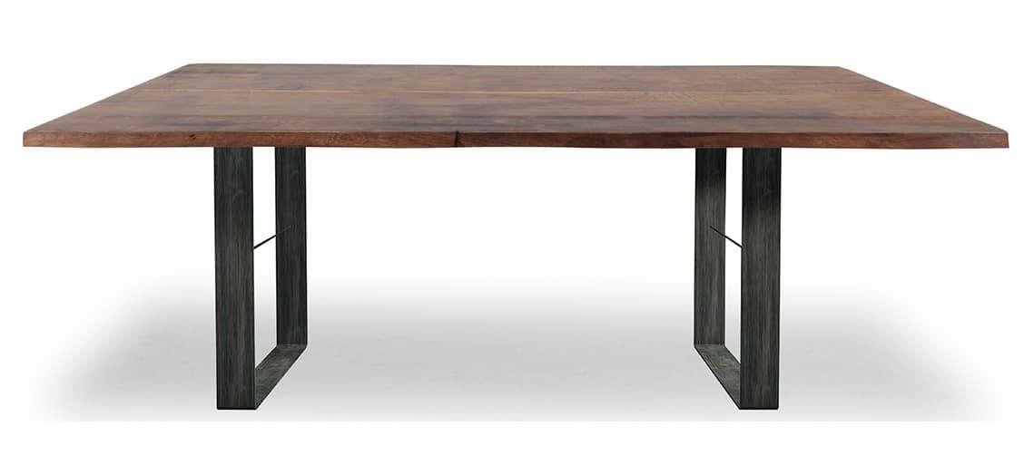 Tisch Mit Metallsockel Und Massivholzplatte Idfdesign