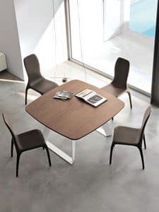 BRENTA, Ausziehbarer Tisch aus Metall mit Holzplatte für Wohnbereich