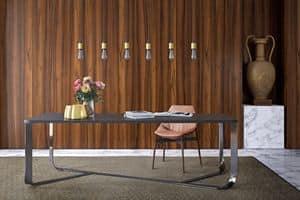 Confluence rechteckigen, Minimal Tisch mit Stahlstruktur, rechteckige Oberseite