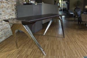 EREISMA - VAR. 5, Tabelle mit Holzplatte und Träger aus rostfreiem Stahl