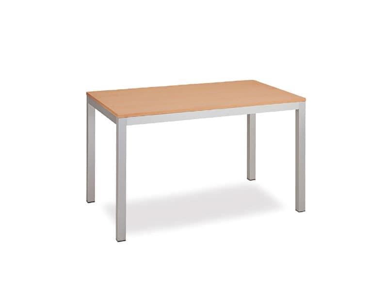 FT 044 rechteckig, Tabelle mit klarem Design, in Metall, Tagungsraum