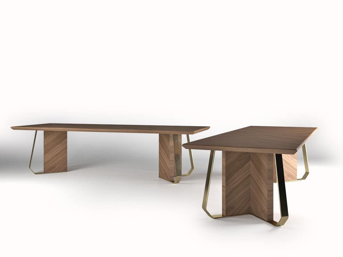 holz furnierter tisch mit metall oberfl chen idfdesign. Black Bedroom Furniture Sets. Home Design Ideas