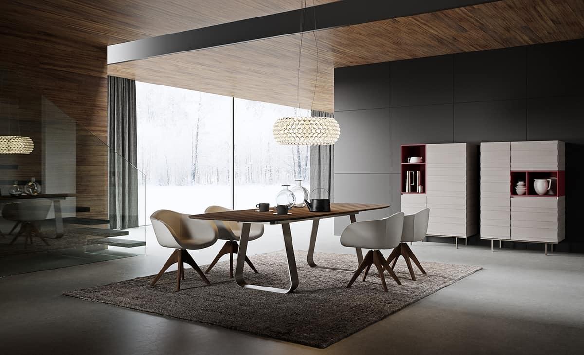 Wesentliche Tisch, abgerundete Ecken, mit Metallfuß | IDFdesign