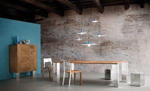 Noa Tisch, Tisch mit Teak oder Eichenholzplatte