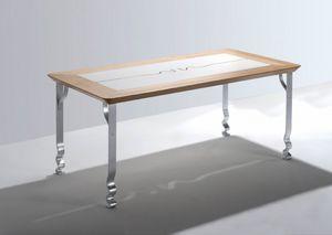 Pashmina, Rechteckiger Tisch mit Holzplatte und Eisen Beine