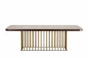 Reichstisch, Tisch mit originalem Boden in Bronze-Finish Metall