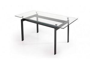 529, Rechteckiger Tisch mit Glasplatte