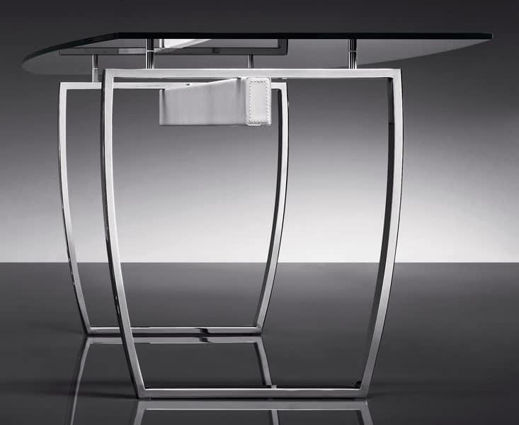 ART. 258/F DIAMOND TABLE, Tische mit Metallgestell, transparente Glasplatte