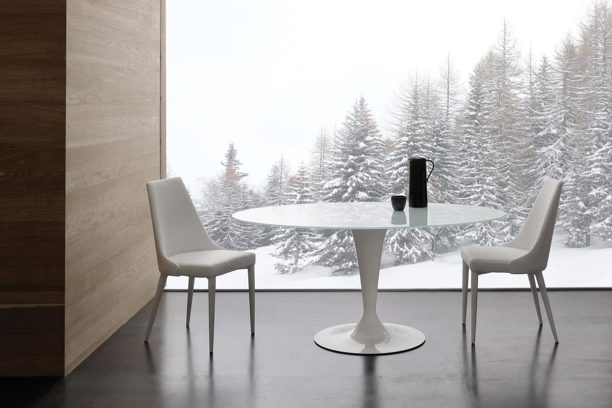 Runder Tisch aus extraweiß gehärtetem Glas | IDFdesign