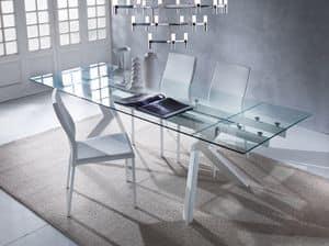 Art. 674 Tokio, Eleganter Tisch mit Glasplatte, ausziehbar