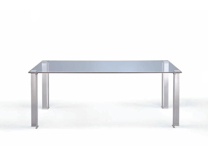 Crono, Esstisch mit Klarglas