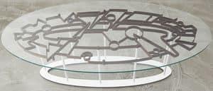 DEDALO, Tisch mit gehärtetem Glas und Stahlkonstruktion