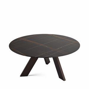 Fix, Oval Design Tisch mit Glasplatte, mit 3 Beinen