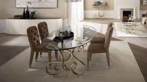 Mirò tavolo, Tisch aus gebogenem Eisen, transparente Glasplatte